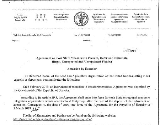 """FAO COMUNICA QUE GOBIERNO DE LA REPUBLICA DE ECUADOR DEPOSITO SU INSTRUMENTO DE ADHESIÓN AL """"ACUERDO MERP"""""""