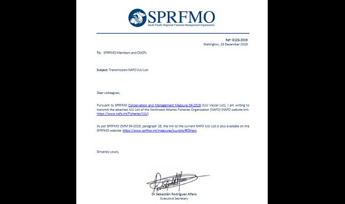 SPRFMO - Transmisión de lista IUU de la NAFO, para los miembros de la SPRFMO y CNCPS