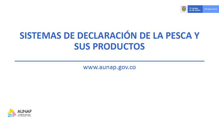 Sistemas de declaración de la pesca y sus productos - COLOMBIA